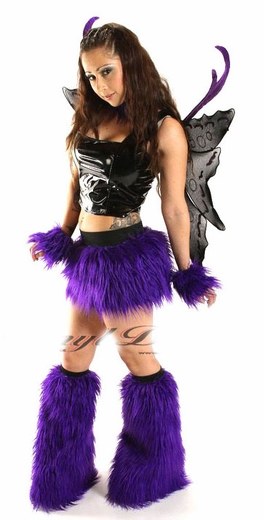 Purple Furry Rave Outfits Clubwear Clothing