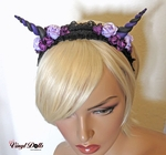 Purple Lilac Black floral horned headband