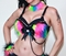 Rainbow Black Furry Rave Bra
