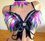 Rave Bra Pink Yellow Blue Monster Fur