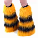 Rave Fluffies Striped Sparkle Yellow and Black Boot Covers