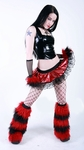 Rave Outfit Deep Red Black and GoGo Fluffies
