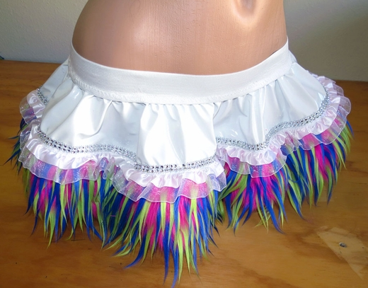 Rave Outfit - White with Pink, Yellow, Blue Monster Fur