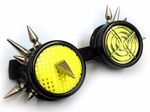 Raver Goggles Black UV Yellow with Spikes