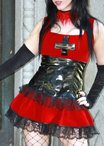 Red Black Cross 2 Piece Goth Outfit