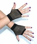 Short Black Fingerless Fishnet Gloves