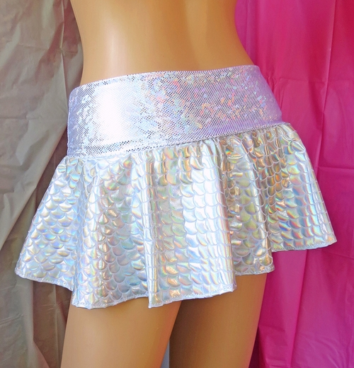 Silver Holographic Fish Scale Mini Skirt