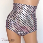 Silver Holographic High Waist Mermaid Shorts