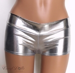 Silver Metallic Spandex Rave Shorts