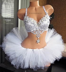 Silver White Winter Wonderland Rave Outfit