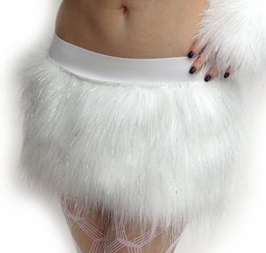 Sparkle White Furry Skirt