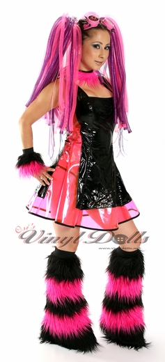 Striped Black / Hot Pink Fuzzy Leg Warmers, Boot Covers