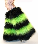 Striped Black Lime Green Rave Fluffies Fuzzy Leg Warmers