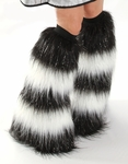 Striped Fluffies - Glitter Black and White