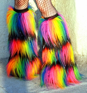 Striped Rainbow Sparkle Black Rave Fluffies