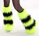 Striped UV Neon Yellow Black Rave Fluffies