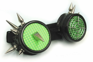 UV Lime Green and Black Spiked Cyber Goth Goggles