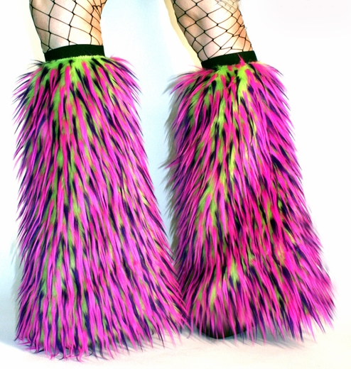 Lime Hot Pink Purple Monster Fluffies Leg Warmers Boot Covers
