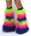 Lime, Neon Pink, Purple Fluffies Leg Warmers