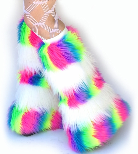 UV Neon Rainbow White Fur Fluffies Leg Warmers