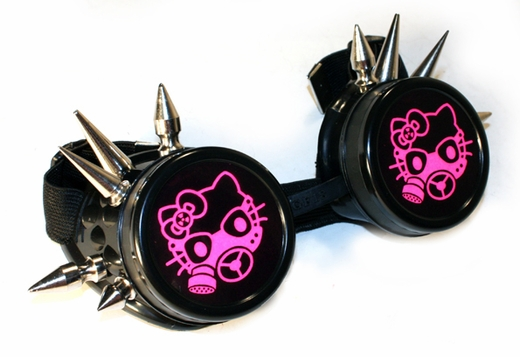 UV Pink Hello Kitty Spiked Black Cyber Goggles