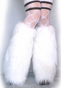 White Rave Fluffies Leg Warmers