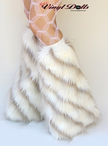 White and Light Brown Striped Furry Leg Warmers