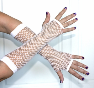 White Fingerless Fishnet Gloves