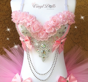Pink Silver Roses Rave Bra