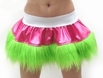 White Pink Lime Vinyl and Fur Skirt