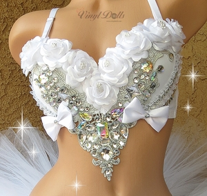 White Roses and Diamonds Rave Bra