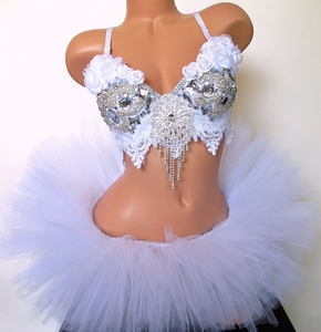 White Roses Diamond Princess Rave Outfit