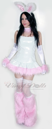 White Vinyl and Baby Pink Fur Skirt