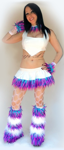 White Vinyl Monster Fur Rave Outfit