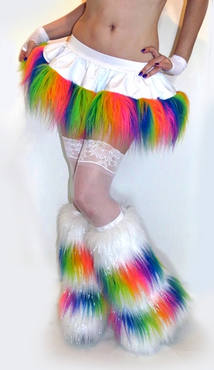White Vinyl Rainbow Fur Rave Skirt