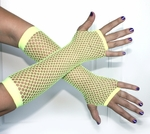 Yellow Fingerless Fishnet Gloves
