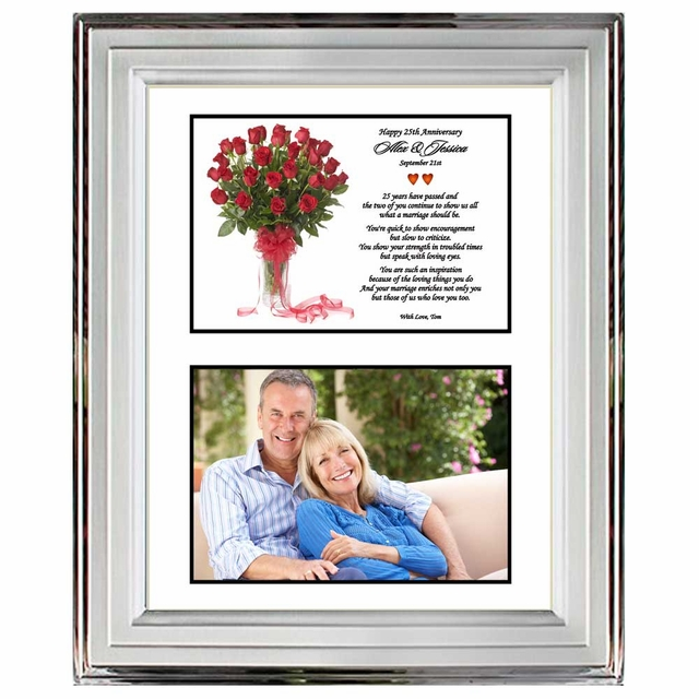 25th Wedding Anniversary Silver Metallic Frame For The
