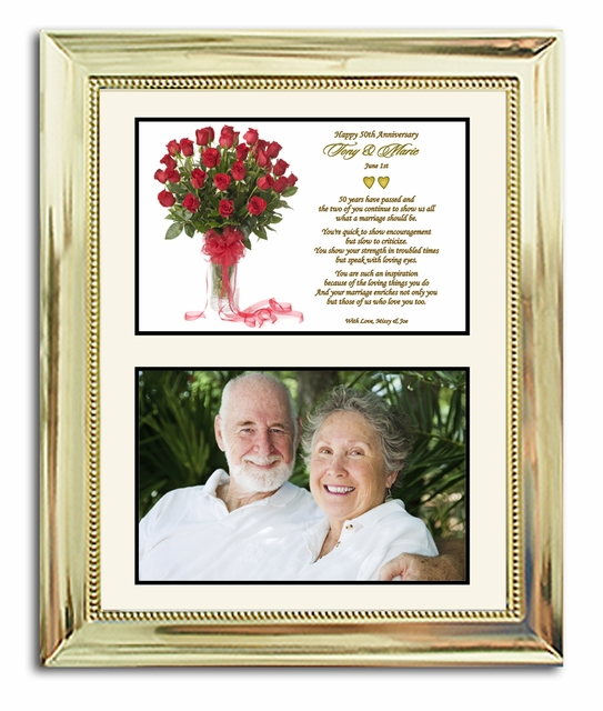 50th Wedding Anniversary Gift In Gold 8x10 Frame