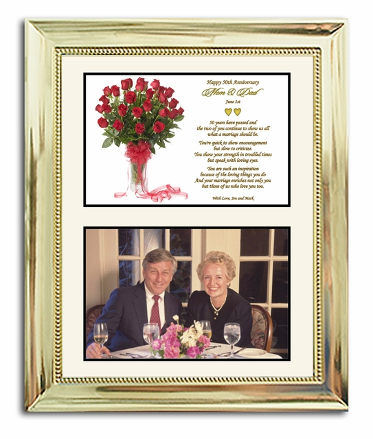 50th wedding anniversary gift in gold 8x10 frame for Present for 50th wedding anniversary