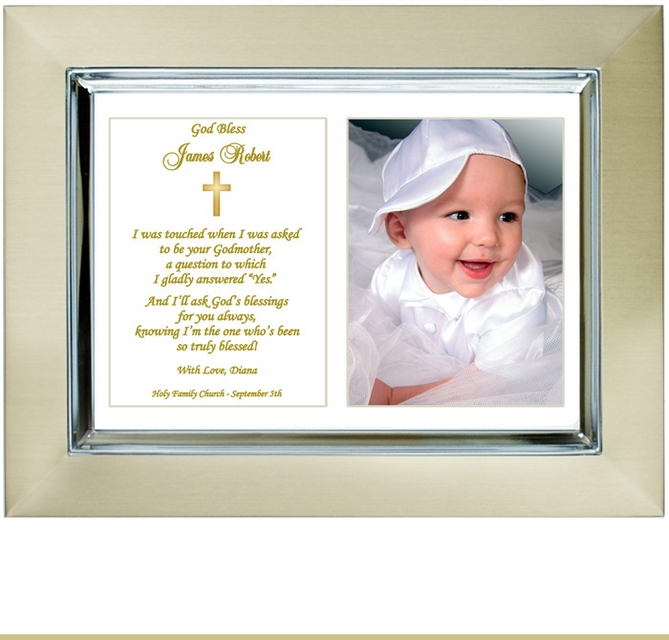 Godchild Baptism Frame from Godmother
