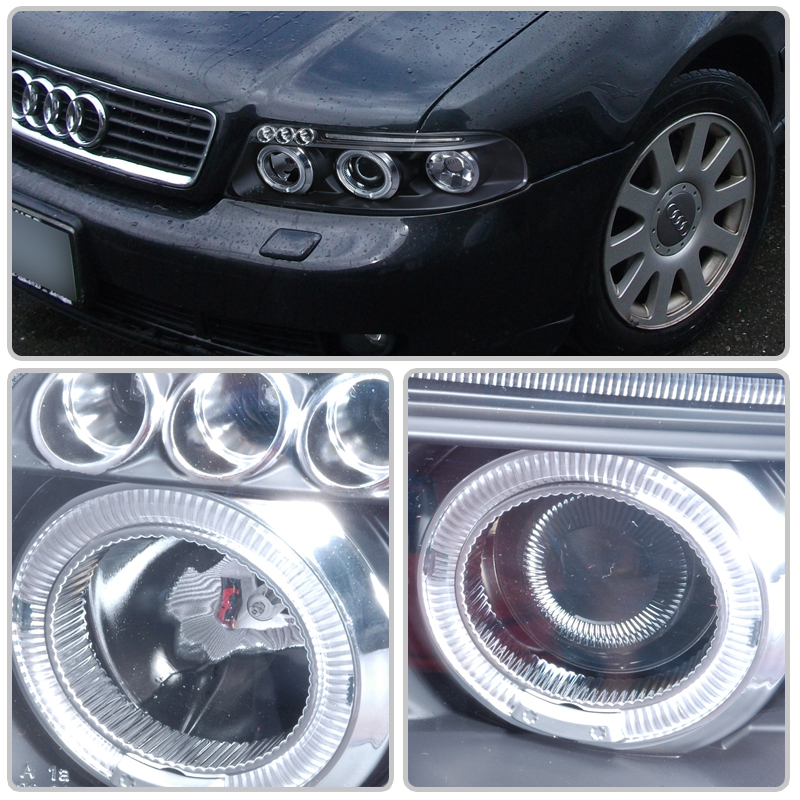 00-01 Audi A4 Euro Style Halo Projector Headlights - Black