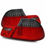 00-03 BMW E46 3-Series Coupe Euro Style LED Performance Tail Lights - Red / Smoked