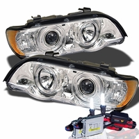 00-03 BMW X5 E53 Angel Eye Halo Projector Headlights - Chrome With HID Kit