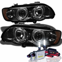 00-03 BMW X5 E53 Angel Eye Halo Projector Headlights - Smoked With HID Kit