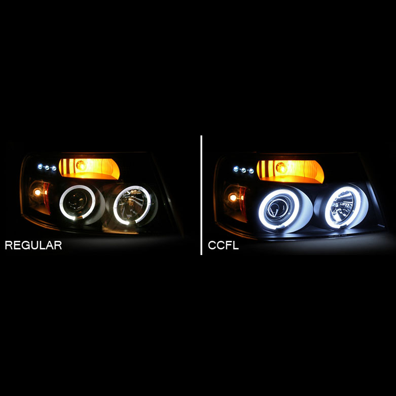 0004 Chevy Impala Dual Halo LED Projector Headlights Smoked