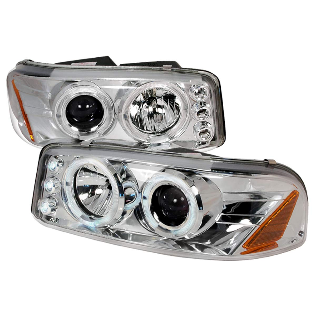 00 06 gmc yukon xl sierra denali angel eye halo led projector headlights chrome