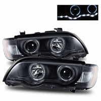 01-03 BMW X5 E53 [Halogen Model] Angel Eye Halo & LED Strip Projector Headlights - Black