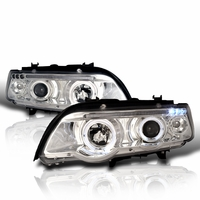 01-03 BMW X5 E53 Dual Halo LED Projector Headlights - Chrome