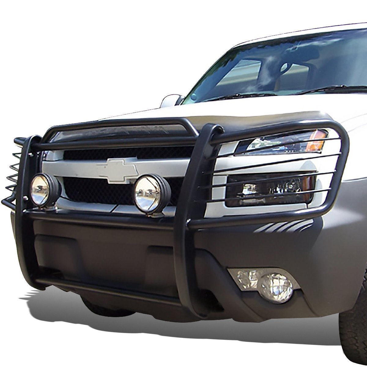02 06 chevy avalanche with cladding front bumper protector brush grille guard black