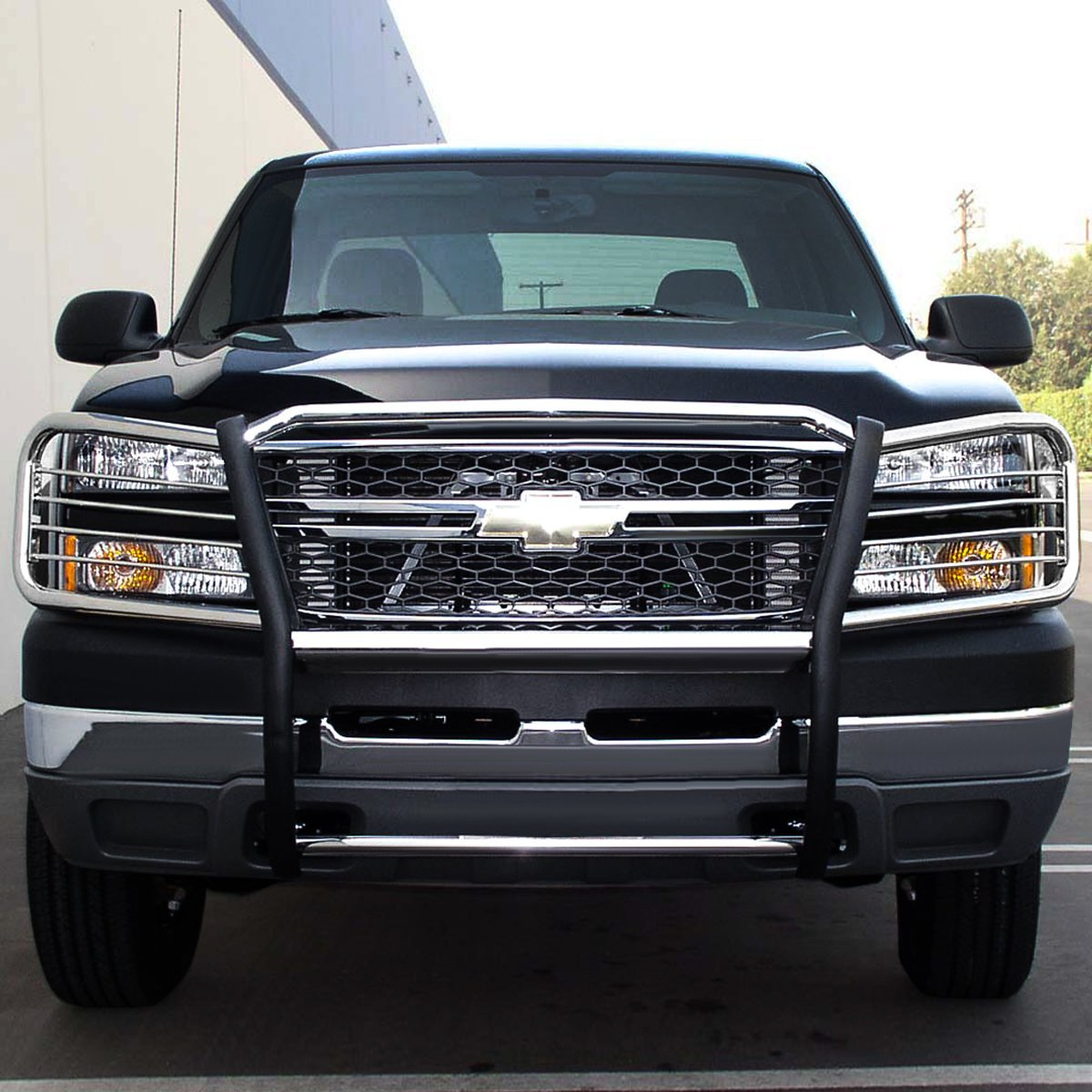 02 06 chevy avalanche with cladding front bumper protector brush grille guard chrome